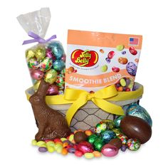 Make someones Easter egg hunt extra special with this egg-shaped basket filled with sweet treats.  A solid milk chocolate bunny, Jelly Belly jelly beans, a bounty of foil-wrapped milk chocolate eggs and two jumbo chocolate eggs. Packed in a oval wire basket.