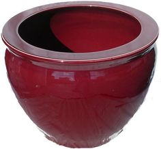 Chinese Porcelain Fish Bowl Planters Glazed in Oxblood Red, $43.00