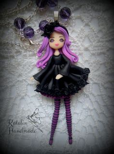 Gothic lolita kawaii chibi ooak doll polymer clay fimo necklace. By Katalin Handmade (2014) #lolita #gothiclolita #chibi #kawaii #cute #chibidoll #kawaiifimo #kawaiiclay #polymerclay #blacklolita #roselolita #clayroses