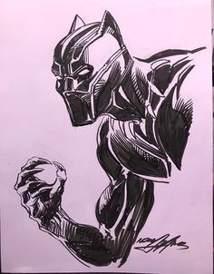 Black Panther by Neal Adams Marvel Cartoons, Marvel Comics Art, Marvel Comic Universe, Drawing Cartoon Characters, Character Drawing, Cartoon Drawings, Comic Book Drawing, Comic Books Art, Comic Art