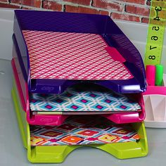 Stackable, colorful letter trays from CEP Pro Gloss.  Fashionable and Functional!  http://www.urbangirl.com/Categories/Designer-Collections/Shop-By-Designer/CEP-Pro-Gloss.aspx