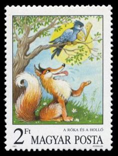 Sello: The Fox and the Crow, Aesop's Fables (Hungría) (Fairy Tales) Mi:HU 3823 Postage Stamp Art, Charley Harper, Fox Illustration, Envelope Art, Fox Art, Mail Art, Stamp Collecting, Crow, Fairytail