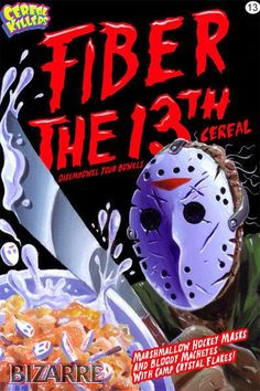 Cereal Killers Horror themed cereal box art by Joe Simko Fiber the 13th