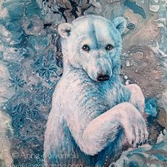 I played with Vajello Fluid Medium and acrylic ink and made that random background. Then this little polar bear appeared in it.  Fredrix canvas board, 38 x 46 cm #acrylic #painting #wildlifeplanet #polarbear #fluid