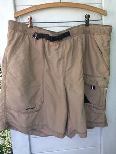 Eddie Bauer XL Cargo Shorts Outdoor Sport Dry Fast Men's Khaki with mesh _swim #EddieBauer #Cargo