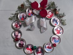 "wreath of family babies at Christmas. This would be fun too, made as ""year in the life"" with one photo per month.Photo wreath of family babies at Christmas. This would be fun too, made as ""year in the life"" with one photo per month. Picture Christmas Ornaments, Christmas Fun, Christmas Decorations, Diy Photo Ornaments, Ornament Crafts, Wreath Crafts, Christmas Presents, Vintage Christmas, Jar Lid Crafts"