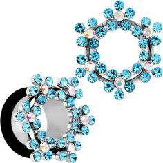 "9/16"" Aqua and Aurora Gem Snowflake Steel Tunnel Plug | Body Candy Body Jewelry"
