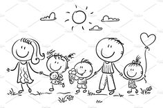 Immagine vettoriale stock 1186840354 a tema Happy Family Three Children Walking Outdoors (royalty free) Art Drawings For Kids, Drawing For Kids, Easy Drawings, Art For Kids, Drawing Drawing, Stick Figure Drawing, Rock Family, Stick Figure Family, Family Drawing