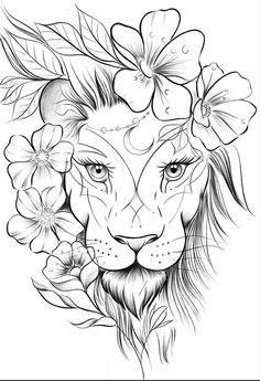Lion Tattoo Design, Tattoo Design Drawings, Art Drawings Sketches Simple, Pencil Art Drawings, Tattoo Sketches, Animal Drawings, Leo Tattoos, Animal Tattoos, Cute Tattoos