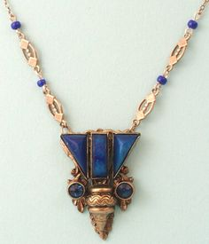Vintage 1930s Art Deco signed Czech filigree & lapis. Perfect with a tank top or jean shirt this summer.