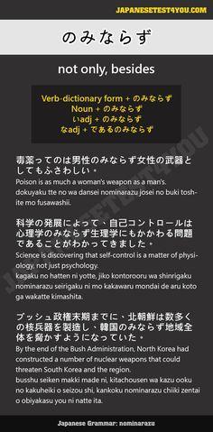 Learn Japanese Grammar: のみならず (nominarazu)