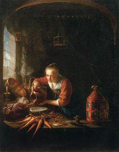 Gerrit Dou - Vrouw giet water in een potje