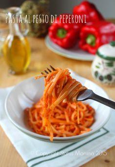 Pasta al pesto di peperoni ricetta semplice economica primo piatto cucinare condimento Statusmamma Gialloblogs