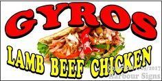 (CHOOSE YOUR SIZE) Gyros Lamb Beef Chicke DECAL Food Truck Vinyl Concession #HarbourSigns