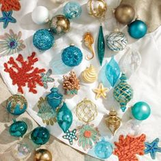 How beautiful is this collection of 'Coastal Cool' ornaments from Frontgate?! Living part-time in Florida these could be perfect for a beach-Christmas!