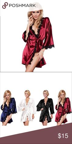 ✨Sexy Satin & Lace Kimono Robe and Thong Burgundy Red with Black Lace Embroider. Comes with matching Thong Intimates & Sleepwear Robes