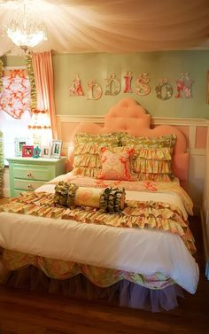 Plain comforter add ruffles , plus pillows and bed skirt...white curtains with same fabric on edges