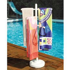 Keep your swim gear organized and dry with this Towel Rack for pools and spas. The Towel Rack is made from weather-resistant, heavy duty PVC.