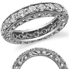 Antique Milgrain Round Moissanite Eternity Ring
