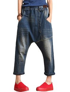 Minibee Women's Drop Crotch Casual Jean Pants Style 1 Blue