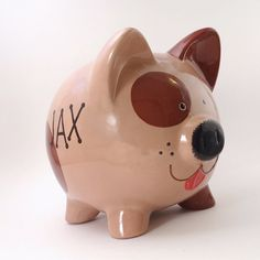 Brown perro Piggy Bank Banco de perro cachorro personalizada Brown Dog, Dark Brown, Personalized Piggy Bank, Color Me Mine, Pig Pen, Red Tongue, Brown Spots, Gifts For Kids, Art For Kids