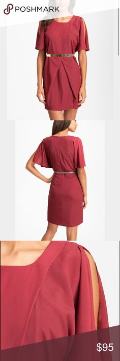 NWT Jessica Simpson Red Belted Split sleeve dress NWT Jessica Simpson Red Belted Split Sleeve Crêpe de Chine dress. Never worn! Belted is adjustable but is labeled a Size 8. Dry Clean. ****THIS ITEM CAN'T BE INCLUDED IN THE BUNDLE DISCOUNT**** Jessica Simpson Dresses