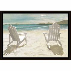 Two Adirondack Chairs On Sandy Beach Coastal Painting Blue U0026 Tan, Framed  Canvas Art By