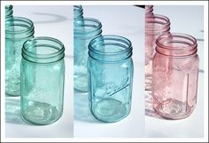 A tutorial on how to make beautiful colored mason jars. Mason jars are a wonderful detail for wedding centerpieces and for highly memorable decorations throughout. Colored Mason Jars, Colored Glass, Craft Projects, Projects To Try, Simple Wedding Centerpieces, Oldschool, Ball Jars, Diy Wedding, Wedding Ideas
