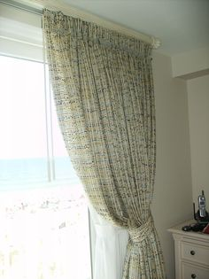 beautiful chunky sheer draw drapery with contrast buttons- beach chic.. by Fabric Works, Barnegat, NJ