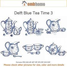 Delft Blue Tea Time 3 macchina ricamo disegni Instant di embhome