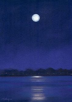 The moon is back, painting by artist Johanna Bohoy