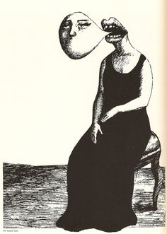 By Roland Topor #eerie #creepy #illustration  We identify ourselves by that which we speak
