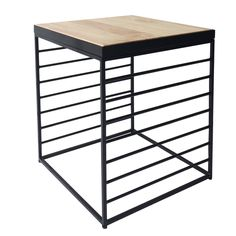 Black Square Wire Side Table