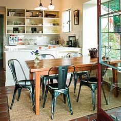 farm table + metal dinning chairs