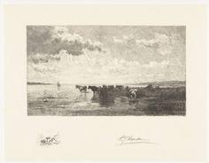 Petrus Johannes Arendzen | Runderen bij een plas, Petrus Johannes Arendzen, 1856 - 1909 | Runderen bij een plas. In marge een hond in het gras.