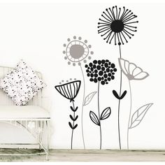 Beautiful Wall Flower Decal For Living Room, Dining Room or Office, Nature Flower Vinyl -Giardino Wall Painting Decor, Wall Decor, Bedroom Murals, Bedroom Decor, Mural Art, Wall Murals, Mural Floral, Beautiful Wall, Flower Wall