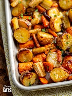 Rosemary Roasted Potatoes, Parsnips, Carrots and Onion | Slimming Eats Parsnip Recipes, Carrot Recipes, Onion Recipes, Vegetable Recipes, Vegetarian Recipes, Cooking Recipes, Healthy Recipes, Free Recipes, Easy Recipes