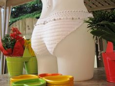 Crochet Bikini/One Piece Bridal Swimsuit/Monokini/White por Shorah