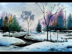 Painting a Beautiful Snow Scene in Watercolour | Paint with david - YouTube