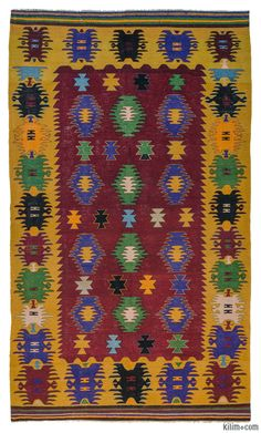Vintage kilim rug hand-woven in Afyon, located inland from the Aegean coast of Turkey in 1960's. This tribal kilim with vivid colors is in very good condition.