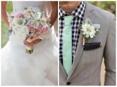 groom in checkered shirt and polka dot pocket square, paired with a mint tie | Frenzel Studios on Oh Lovely Day