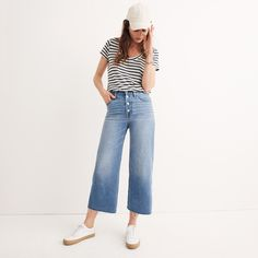 Wide-Leg Crop Jeans: Button-Front Edition : demi-boots & wide-leg jeans | Madewell