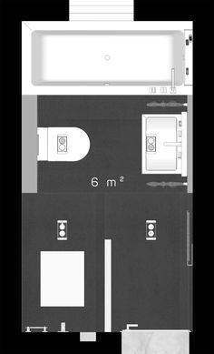 Highlight des neuen Grundrisses auf 6 m² sind das Marmoroptik Fliesen und Bad veredeln