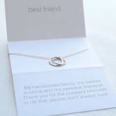 This friend necklace is a little sentimental with a funny twist. We know you and your friends have a wicked sense of humor so we made a necklace as connected as the two of you. Two interlocking circles represent the bond you share on a 17 inch chain. Choose from sterling silver, gold or rose gold.