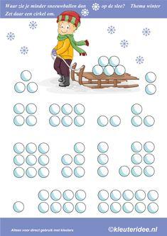Waar zie je minder sneeuwballen dan op de slee, thema winter, kleuteridee , where you see less than snowballs on the sled, free printable.
