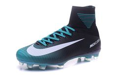New 2016-17 NIke Mercurial Superfly V ID FG Soccer Cleats Black/White-Blue