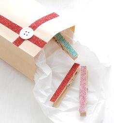 DIY Glitter Clothespins & Gift Bag