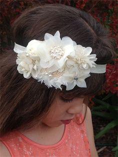 Stunning Ivory vintage inspired chiffon flower headband baby girl Flowergirl