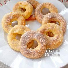 receta de roscos de natillas Pan Dulce, Pasta Casera, Canapes, Onion Rings, Margarita, Doughnut, Recipies, Chocolate, Ethnic Recipes