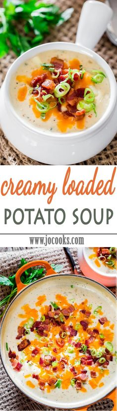 Creamy Loaded Potato Soup - smooth, creamy, delicious, this can only be described as serious comfort food in a bowl. A simple recipe perfect for a cold day.